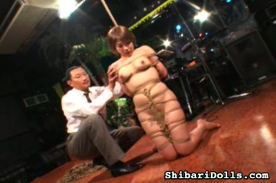 Busty bound japanese. A appealing large titted babe gets bound and scalded by her demented captor